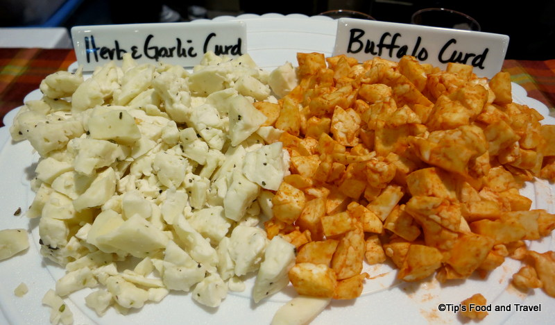 a variety of cheese curds