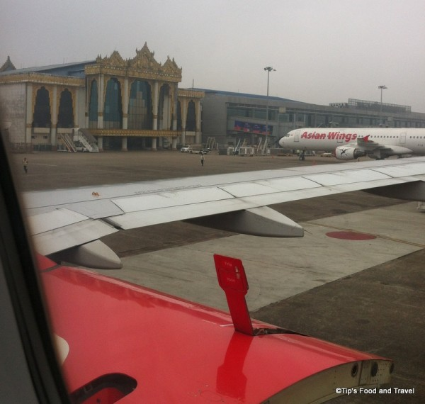 Yangon international airport on a foggy day