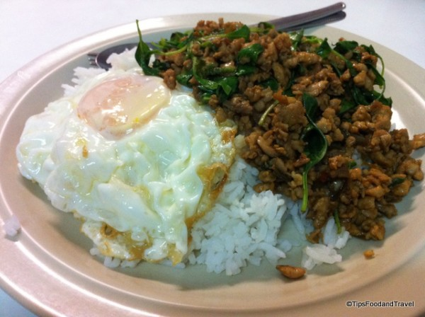 Stir fried Holy basil with grounded pork and fried egg.